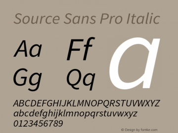 Source Sans Pro Italic Version 1.038;PS 1.000;hotconv 1.0.70;makeotf.lib2.5.5900 Font Sample