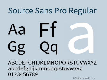 Source Sans Pro Regular Version 1.038;PS Version 1.000;hotconv 1.0.70;makeotf.lib2.5.5900 Font Sample