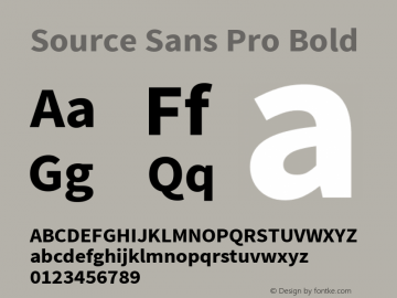 Source Sans Pro Bold Version 1.040;PS Version 1.000;hotconv 1.0.70;makeotf.lib2.5.5900 Font Sample