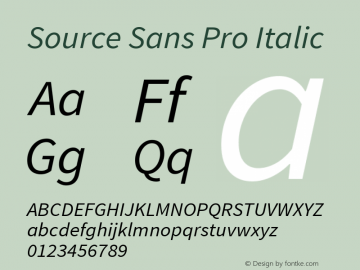Source Sans Pro Italic Version 1.040;PS Version 1.000;hotconv 1.0.70;makeotf.lib2.5.5900 Font Sample