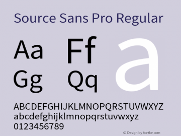 Source Sans Pro Regular Version 1.040;PS Version 1.000;hotconv 1.0.70;makeotf.lib2.5.5900 Font Sample