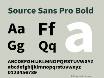 Source Sans Pro Bold Version 2.010;PS Version 2.0;hotconv 1.0.78;makeotf.lib2.5.61930 Font Sample