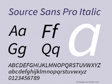 Source Sans Pro Italic Version 1.065;PS Version 2.0;hotconv 1.0.78;makeotf.lib2.5.61930 Font Sample
