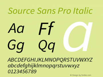 Source Sans Pro Italic Version 1.065;PS 2.0;hotconv 1.0.78;makeotf.lib2.5.61930 Font Sample