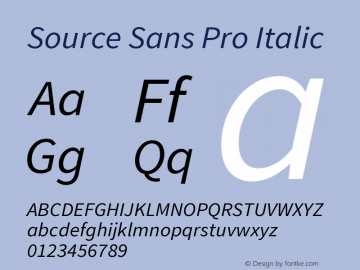 Source Sans Pro Italic Version 1.033;PS 1.000;hotconv 1.0.70;makeotf.lib2.5.58329 Font Sample