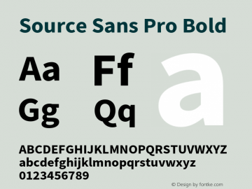 Source Sans Pro Bold Version 2.010;PS 2.0;hotconv 1.0.78;makeotf.lib2.5.61930 Font Sample