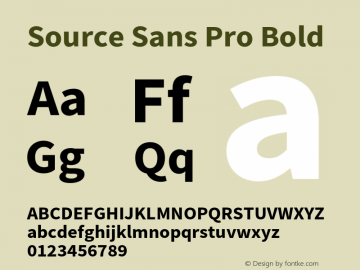 Source Sans Pro Bold Version 2.020;PS 2.0;hotconv 1.0.86;makeotf.lib2.5.63406 Font Sample
