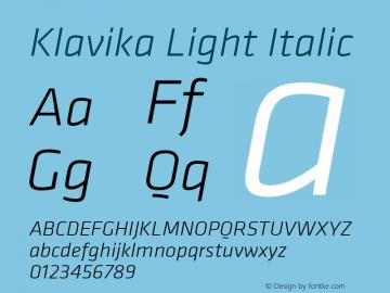 Klavika Light Italic Version 3.003 Font Sample