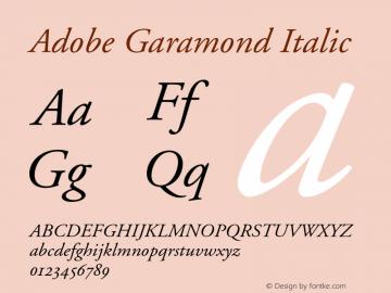 Adobe Garamond Italic 001.002 Font Sample