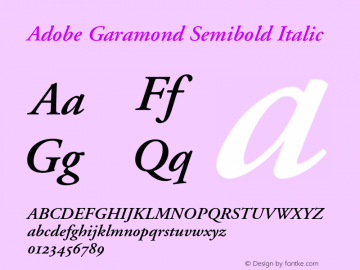 Adobe Garamond Semibold Italic 001.002 Font Sample