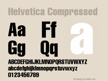 Helvetica Compressed Version 001.000 Font Sample