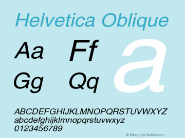 Helvetica Oblique Version 001.006 Font Sample