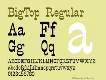 BigTop Regular v1.00 Font Sample