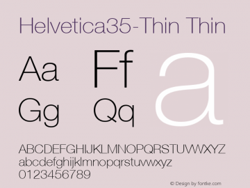 Helvetica35-Thin Thin Version 1.00 Font Sample