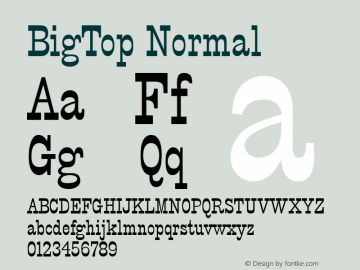 BigTop Normal 1.0 Tue Nov 17 22:23:12 1992 Font Sample