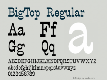 BigTop Regular 001.003 Font Sample