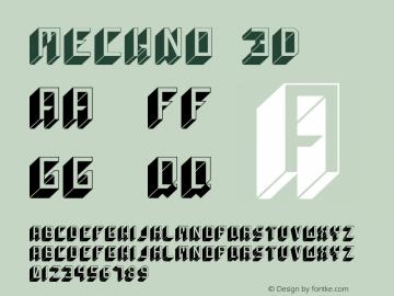 Mechno 3D Version 1.000 Font Sample