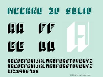 Mechno 3D Solid Version 1.000 Font Sample