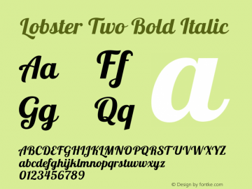 Lobster Two Bold Italic Version 1.006 Font Sample