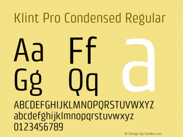 Klint Pro Condensed Regular Version 1.00 Font Sample