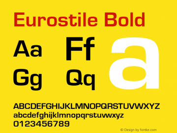 Eurostile Bold Version 1.50 Font Sample