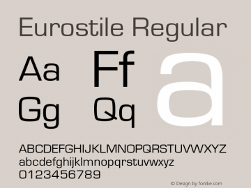Eurostile Regular Version 1.50 Font Sample