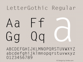 LetterGothic Regular The IMSI MasterFonts Collection, tm 1995 IMSI Font Sample