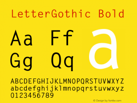 LetterGothic Bold The IMSI MasterFonts Collection, tm 1995 IMSI Font Sample