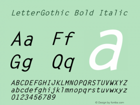 LetterGothic Bold Italic The IMSI MasterFonts Collection, tm 1995 IMSI Font Sample