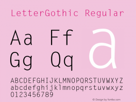 LetterGothic Regular Print Artist: Sierra On-Line, Inc. Font Sample