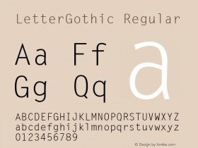LetterGothic Regular The IMSI MasterFonts Collection, tm 1995, 1996 IMSI (International Microcomputer Software Inc.) Font Sample