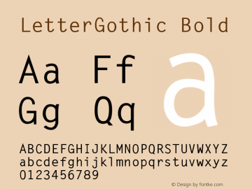 LetterGothic Bold The IMSI MasterFonts Collection, tm 1995, 1996 IMSI (International Microcomputer Software Inc.) Font Sample