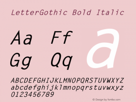 LetterGothic Bold Italic The IMSI MasterFonts Collection, tm 1995, 1996 IMSI (International Microcomputer Software Inc.) Font Sample
