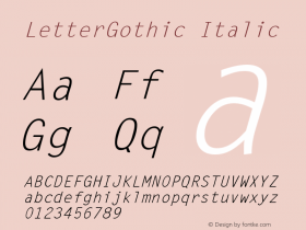 LetterGothic Italic The IMSI MasterFonts Collection, tm 1995, 1996 IMSI (International Microcomputer Software Inc.) Font Sample