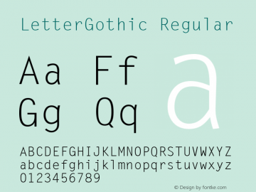 LetterGothic Regular Accurate Research Professional Fonts, Copyright (c)1995 Font Sample