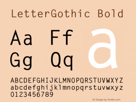 LetterGothic Bold Accurate Research Professional Fonts, Copyright (c)1995 Font Sample