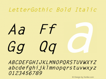 LetterGothic Bold Italic Accurate Research Professional Fonts, Copyright (c)1995 Font Sample