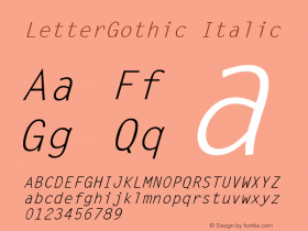 LetterGothic Italic Accurate Research Professional Fonts, Copyright (c)1995 Font Sample