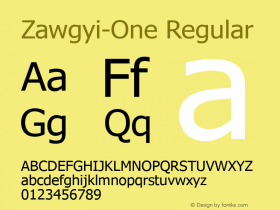 Zawgyi-One Regular 3.0 December 4, 2007图片样张