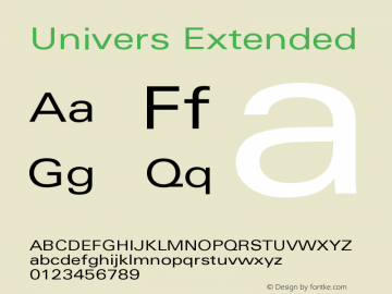 Univers Extended Version 001.000 Font Sample
