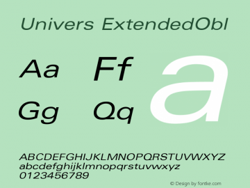 Univers ExtendedObl Version 001.000 Font Sample