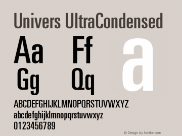 Univers UltraCondensed Version 001.000 Font Sample