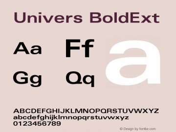 Univers BoldExt Version 001.000 Font Sample