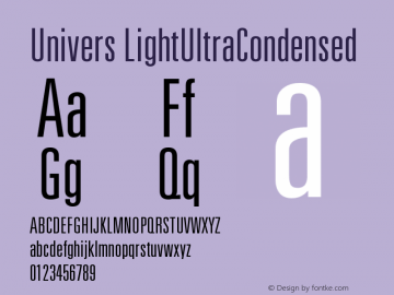Univers LightUltraCondensed Version 001.000 Font Sample