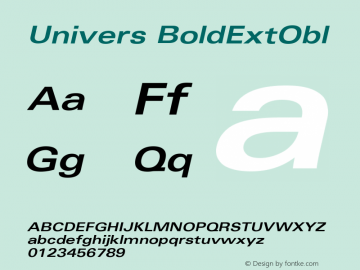 Univers BoldExtObl Version 001.000 Font Sample