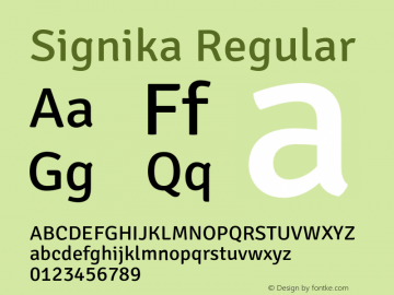 Signika Regular Version 1.001 Font Sample