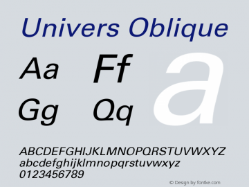 Univers Oblique Version 001.000 Font Sample