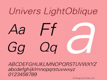 Univers LightOblique Version 001.000 Font Sample