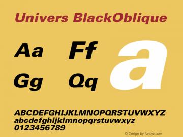 Univers BlackOblique Version 001.000 Font Sample