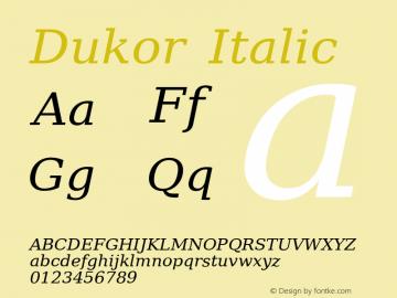 Dukor Italic Version 1.007 Font Sample